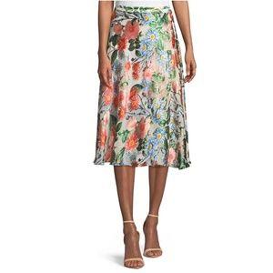 Alice + Olivia Nanette Mock-Wrap Floral Midi Skirt
